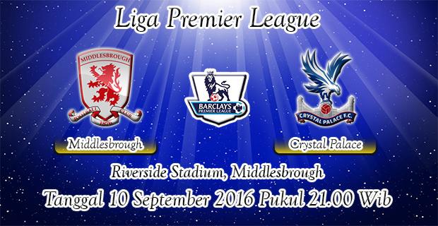 Prediksi Skor Middlesbrough Vs Crystal Palace 10 September 2016